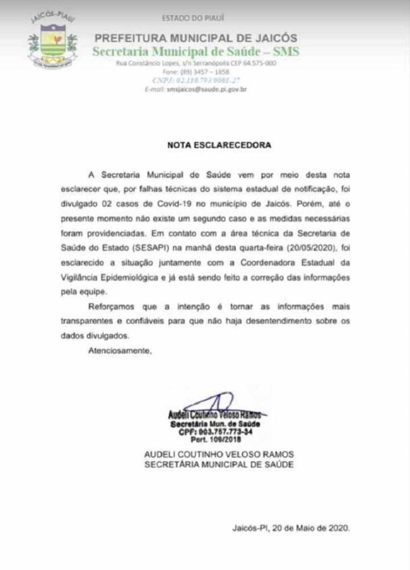 Nota divulgada pela prefeitura de Jaicós-PI